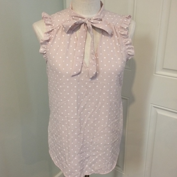 c3cf49e8c89b88 Pink heart blouse ascot bow tie sleeveless top. M_5bc8d1ffdcf8550ca5befcf6